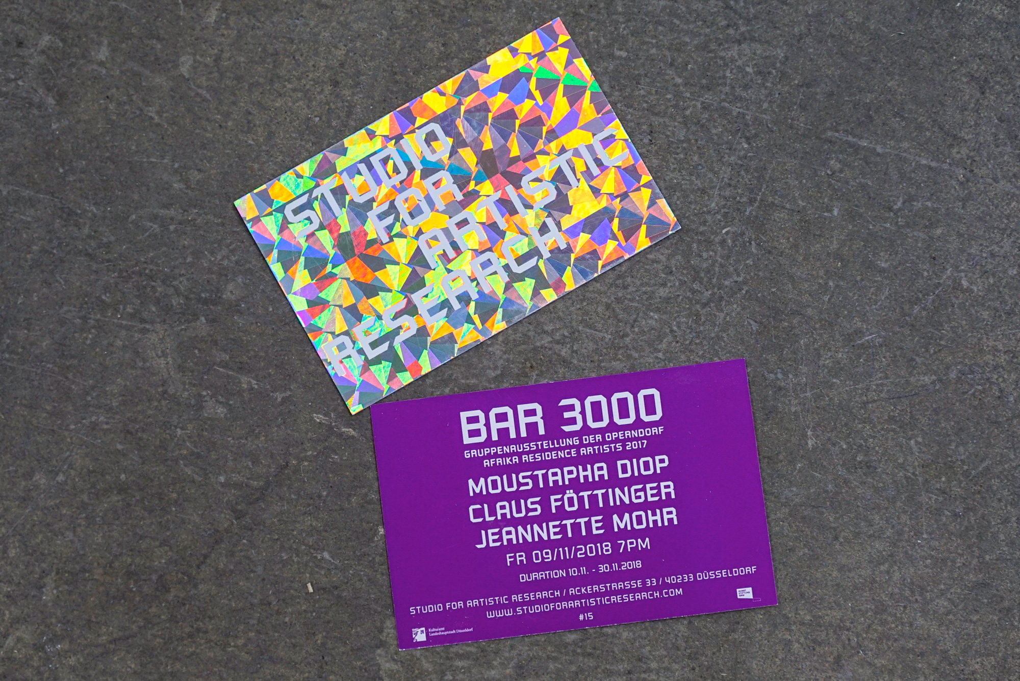 BAR 3000 - Flyer Studio For Artistic Research Claus Föttinger Moustapha Diop Jeannette Mohr Düsseldorf