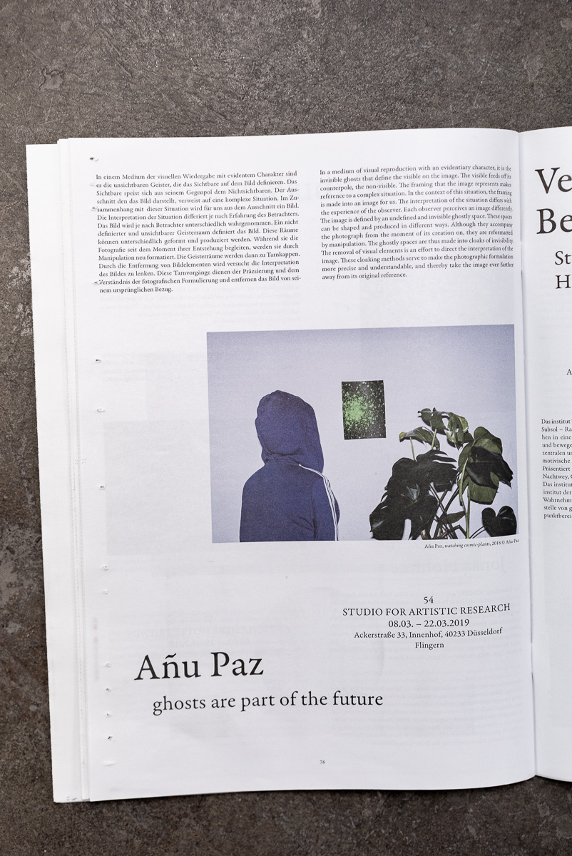 »GHOSTS ARE PART OF THE FUTURE«  - Añu Paz - Photo Weekend 2019 Newspaper - 08.03.2020 Studio For Artistic Research Añu Paz Düsseldorf